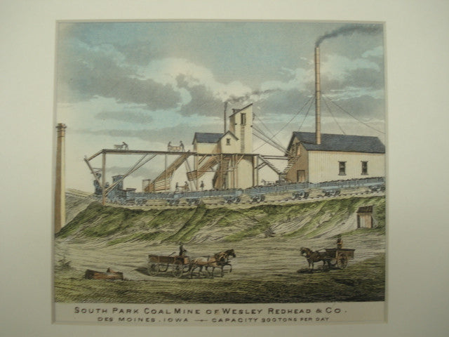 South Park Coal Mine of Wesley Redhead & Co., Des Moines, IA, 1875, Unknown