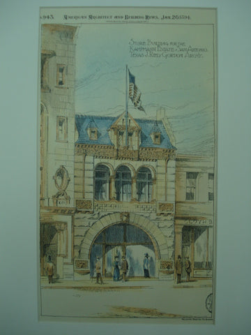 Store Building for the Kampmann Estate , San Antonio, TX, 1894, J. Reilly Gordon
