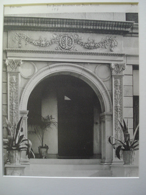 Entrance to Residence of John A. Lynch , Chicago, IL, 1890, Jenney & Mundie