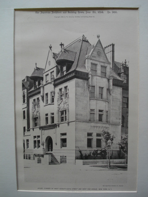 House on the Corner of West Seventy-Sixth Street and West End Avenue , New York, NY, 1894, Lamb and Rich