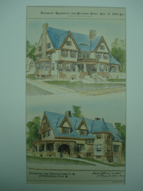Houses for the Newton Land Company , Newtonville, MA, 1896, Samuel J. Brown