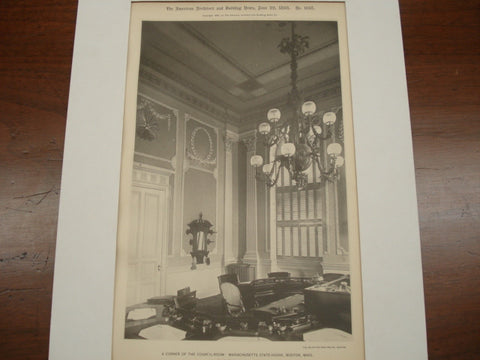 A Corner of the Council Room: Massachusetts State House, Boston, MA, 1895, Charles Bulfinch