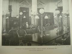 Corner of the Reference Room: Public Library, Milwaukee, WI, 1900, Ferry & Clas