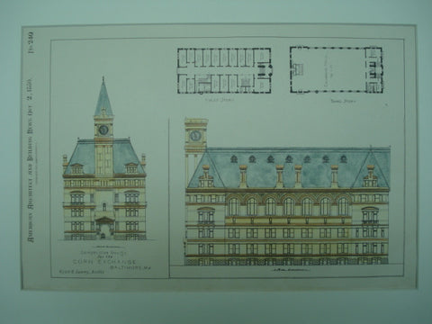 Competitive Design for the Corn Exchange , Baltimore, MD, 1880, Wyatt & Sperry