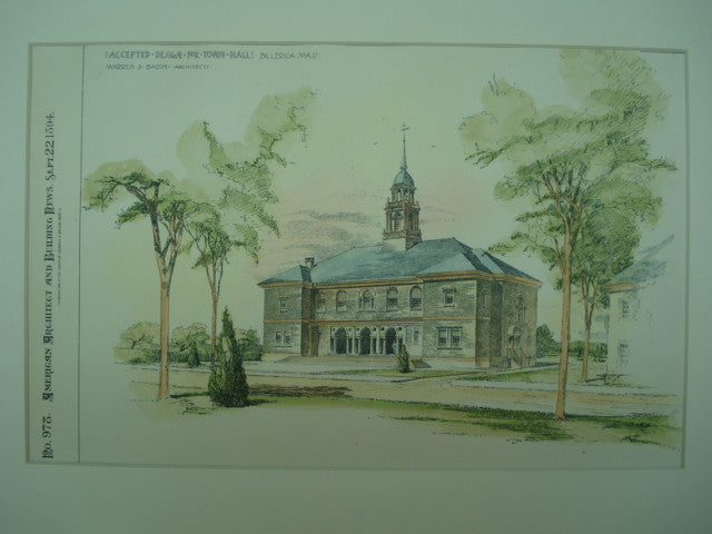 Accepted Design for the Town Hall , Billerica, MA, 1894, Warren & Bacon