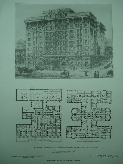 Linton Apartment Houses on Sherbrooke St. , Montreal, CAN, 1907, Finley & Spence