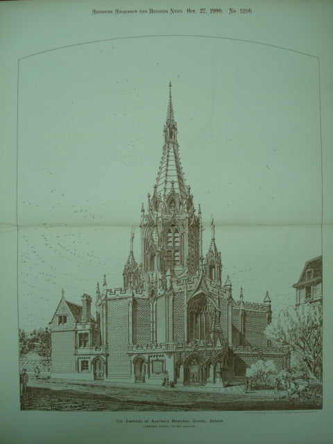 Exterior of the Empress of Austria's Memorial Chapel , Geneva, Switzerland, EUR, 1900, Lawrence Harvey