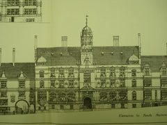 Elevations of the New Municipal Offices , Nottingham, England, UK, 1883, F. H. Oldham