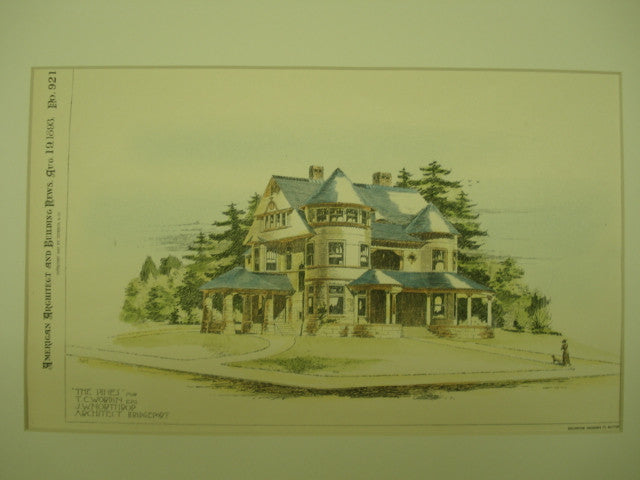 Pines House of T. C. Wordin , Bridgeport, CT, 1893, J. W. Northrop