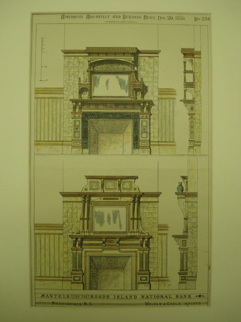 Mantels for the Rhode Island National Bank , Providence, RI, 1880, Walker & Gould