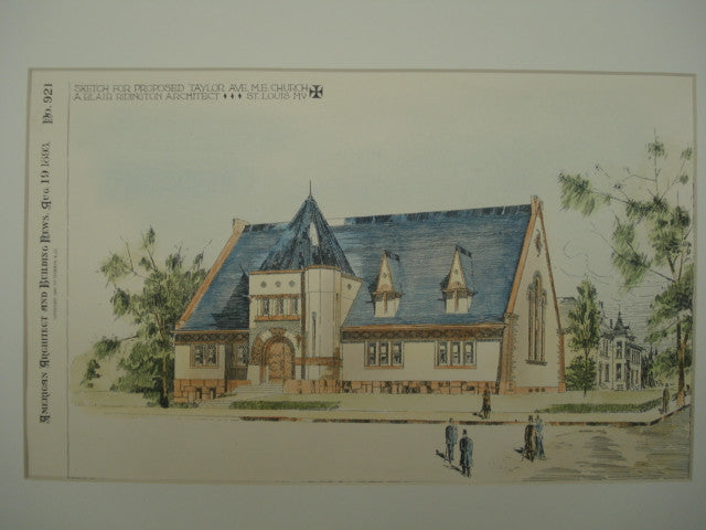 Sketch for Proposed Taylor Avenue Methodist Evangelical Church , St. Louis, MO, 1893, A. Blair Ridington