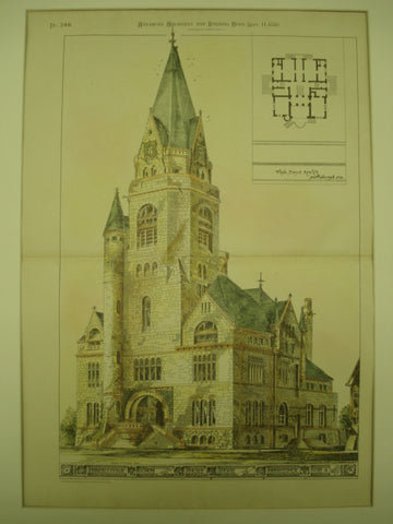 Competitive Design for the Court House , Cambridge, OH, 1880, Thos. Boyd