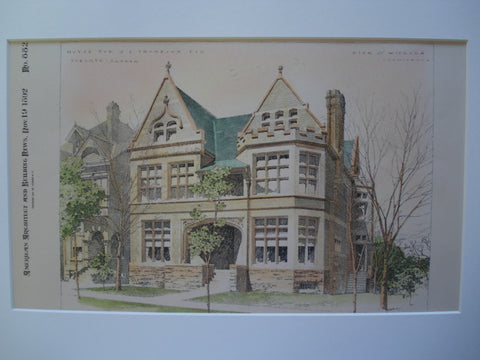 House for J.L. Thompson, Esq. , Toronto, CAN, 1892, Pick & Wickson