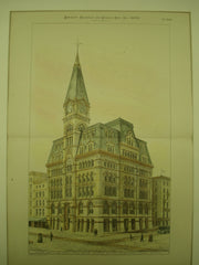 Baltimore and Ohio Railroad Company's Central Office Building on the Northwest Corner of Baltimore & Calvert Streets , Baltimore, MD, 1880, E. F. Baldwin