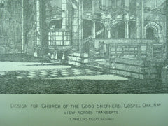 Design for the Church of the Good Shepherd , Gospel Oak, England, UK, 1890, T. Phillips Figgis