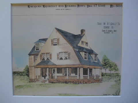 House for W.S. Quigley, Esq., Newport, DE, 1892, Frank R. Carswell