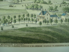 "Minnesota Scenery, Dead River Valley (Looking South) from ""Prospect Hill"", the Suburban Residence of W.L. Bowser, Richfield Tp., Hennepin Co., MN, 1874, unknown"