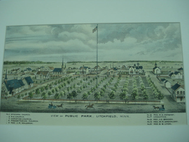 View of Public Park, Four Churches, Five Particular Residences noted in description, and the Land Office, Litchfield, MN, 1874, unknown