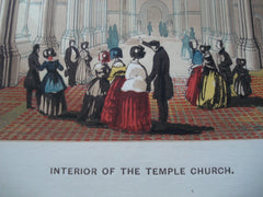 Interior of the Temple Church , London, England, UK, 1845, Unknown