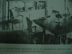 Buffet in Dining Room in the Residence of A. W. Chamberlin , Denver, CO, 1900, Kidder & Humphreys