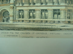 Competitive Design for the Chamber of Commerce , Portland, OR, 1890, J. Parkinson and J. B. Hamme