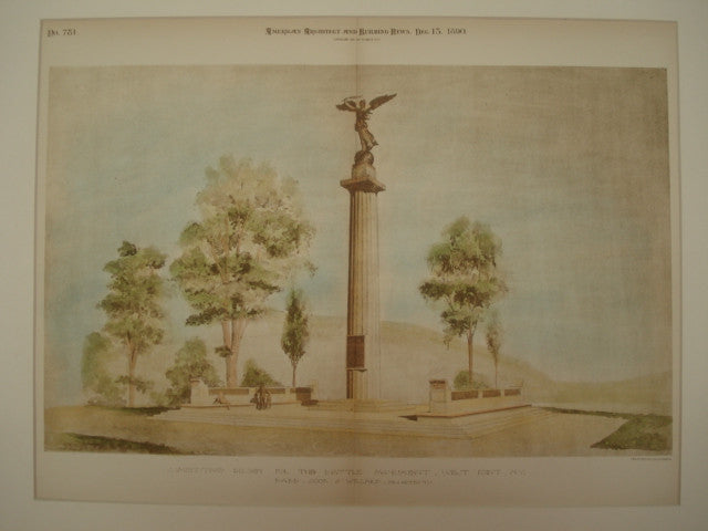 Competitive Design for the Battle Monument, West Point, NY, 1890, Babb, Cook & Willard