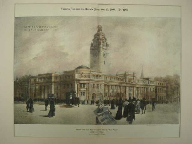 Design for the New Sessions House, Old Bailey, London, England, UK, 1900, H. L. Florence