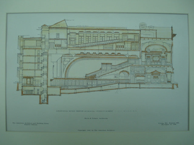 Longitudinal Section through the Music-Hall of the Brooklyn Academy of Music , Brooklyn, NY, 1906, Herts & Tallant