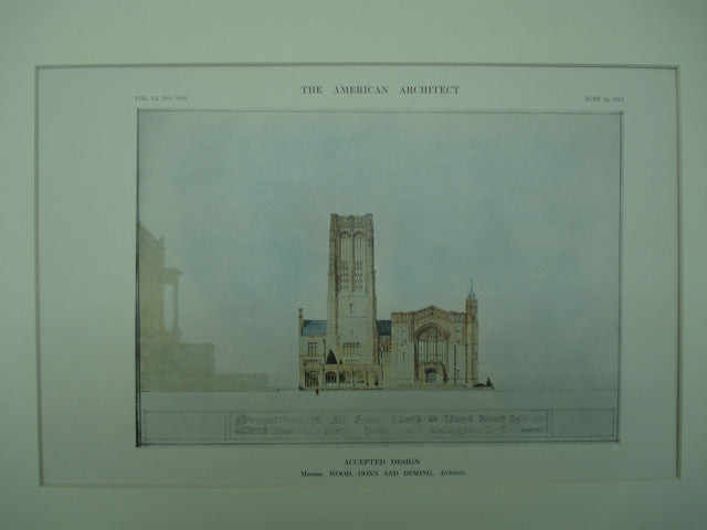 Accepted Design for the All Saints Church and Memorial Parish House , Washington, DC, 1912, Wood, Donn and Deming