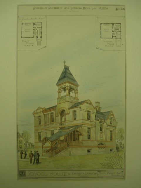 School House , Chicago Lawn, IL, 1880, Mr. O. J. Pierce