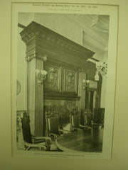 Mantelpiece in Trustees' Room: Public Library, Milwaukee, WI, 1900, Ferry & Clas