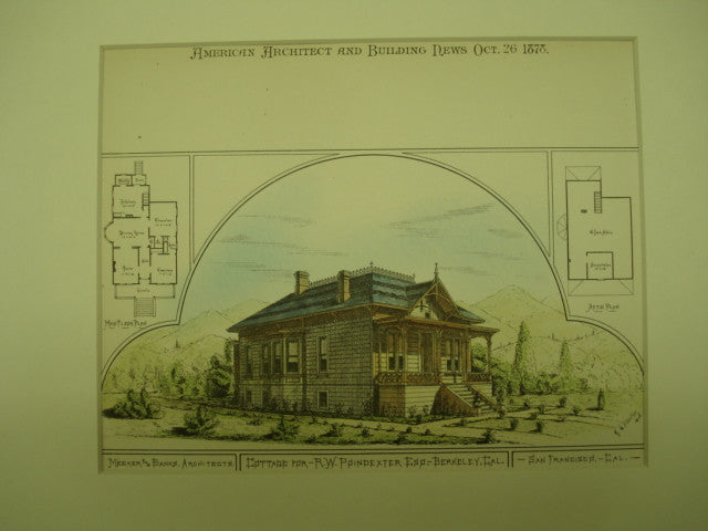 Cottage for R. W. Poindexter, Esq. , Berkeley, CA, 1878, Meeker & Banks