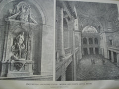 Staircase-Hall and Niched Statue: Imperial Law Courts, Leipsic, Saxony, Germany, EUR, 1895, Ludwig Hoffman