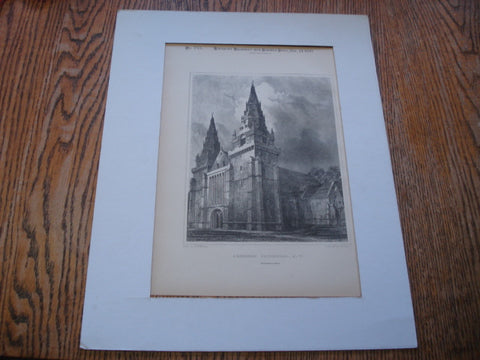 Aberdeen Cathedral, Aberdeen, Scotland, UK, 1890, Engraved by J. Godfrey, Drawn by R.W. Billings