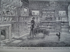 Library in Capt. H.A. Bennett's House , Manchester, England, UK, 1881, Salomons & Ely