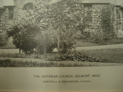Unitarian Church , Belmont, MA, 1893, Hartwell & Richardson