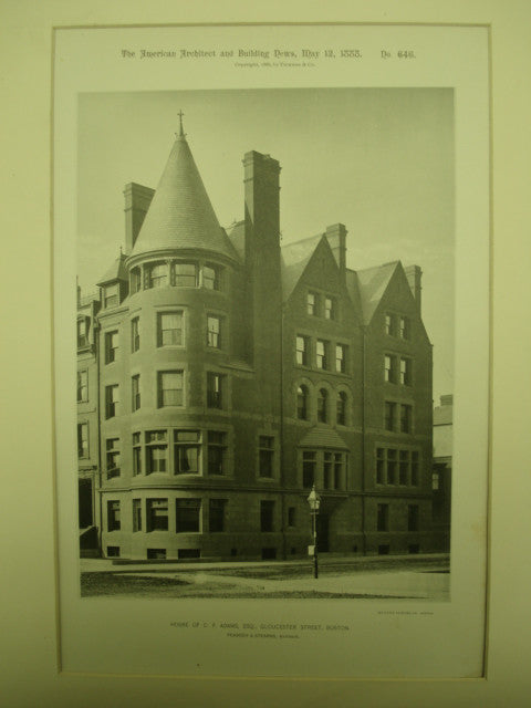House of C. F. Adams, Esq. on Gloucester Street , Boston, MA, 1888, Peabody & Stearns