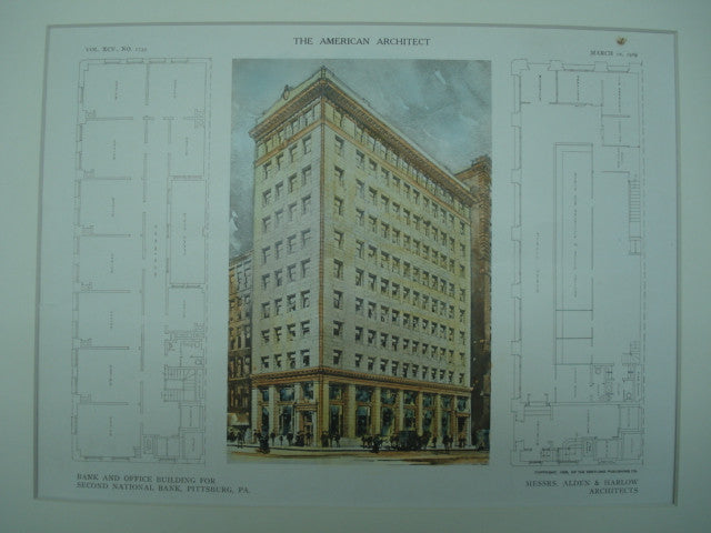 Bank and Office-Building for the Second National Bank , Pittsburgh, PA, 1909, Alden & Harlow