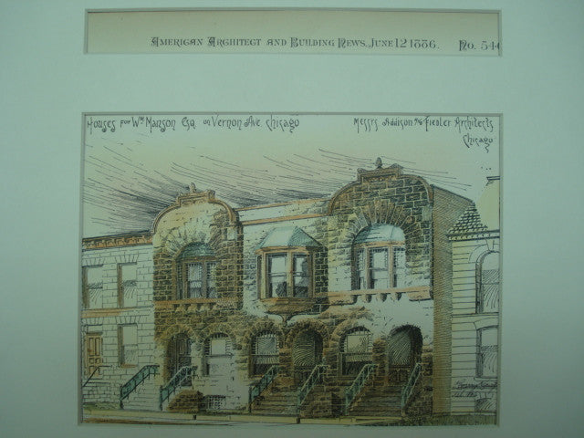 Houses for Wm. Manson, Esq. on Vernon Ave., Chicago, IL, 1886, Messrs. Addison & Fiedler