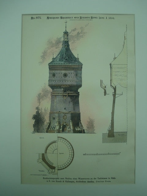 Competitive Design for the New Water Tower on York Street , Halle, Germany, EUR, 1894, von Knoch & Kallmeyer