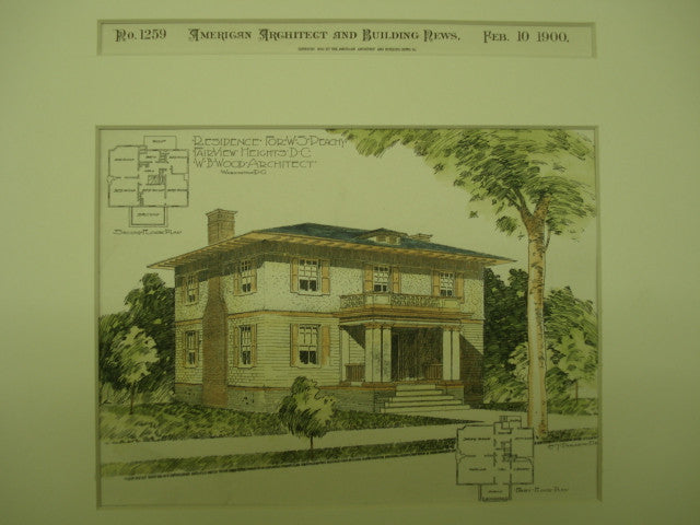 Residence for W. S. Peachy, Fairview Heights, Washington, DC, 1900, W. B. Wood