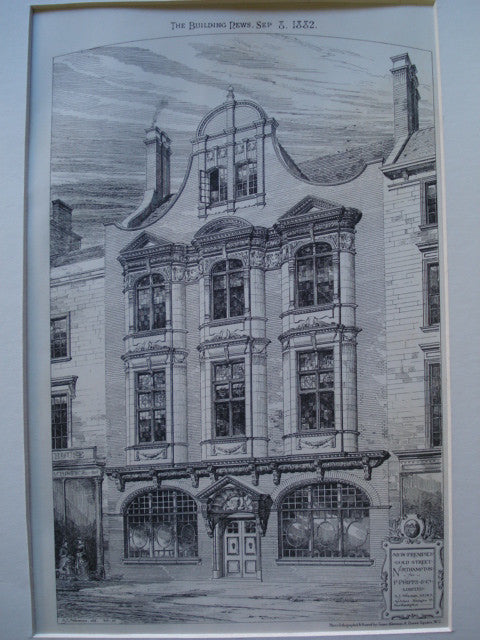 New Premises for P. Phipps & Co. on Gold Street , Northampton, England, UK, 1882, S.J. Newman