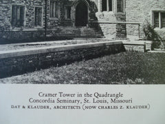 Cramer Tower in the Quadrangle at Concordia Seminary , St. Louis, MO, 1928, Day & Klauder
