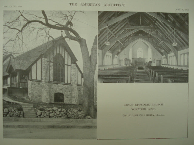 Grace Episcopal Church , Norwood, MA, 1912, J. Lawrence Berry