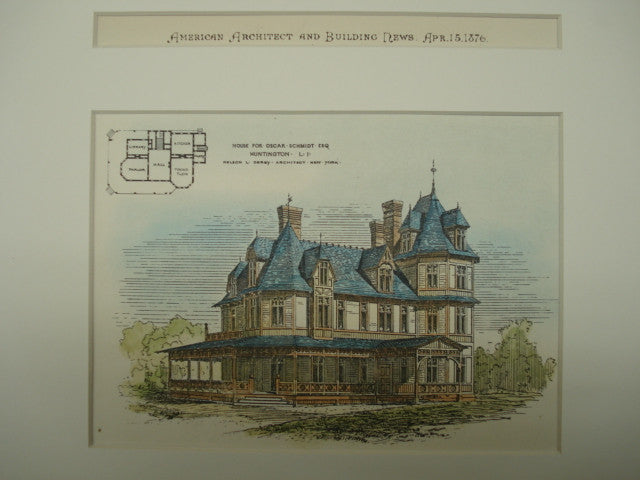 House for Oscar Schmidt , Huntington, Long Island, NY, 1876, Nelson L. Derey