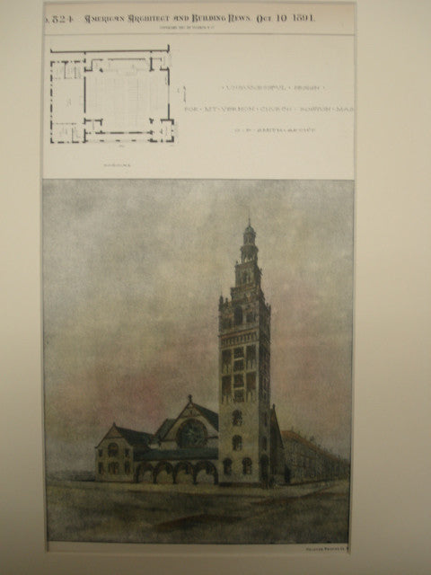 Unsuccessful Design for the Mt. Vernon Church , Boston, MA, 1891, O. F. Smith