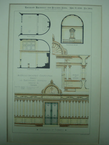 Baptistery Screen Design, 1896, unknown