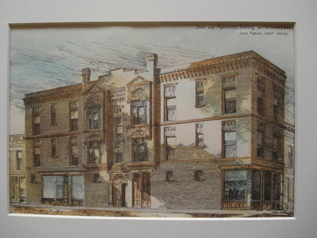 Store and Apartment Building for Mrs. Annah B. Peck , Chicago, IL, 1886, John Addison