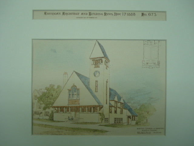 Baptist Church , Sanford, ME, 1888, John Calvin Stevens & Albert Winslow Cobb