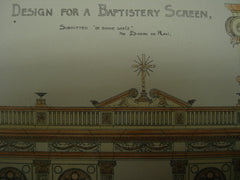Baptistery Screen Design , 1896, De Bonne Grace